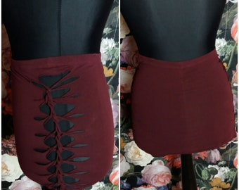 Rock mini skirt Red crimson burgundy Bordeaux cutouts cut out Goa pixie braided psy burning cosplay ribbons lacing geometric knotted