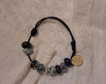 Leather lampwork 925 sterling silver adjusted to your size comfortable