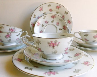 Vintage Noritake Teacup, Saucer & Cake Plate, Anita #5309, Pink Floral, Made in Japan. Perfect for a Vintage Tea Party, Gift or Styling Prop