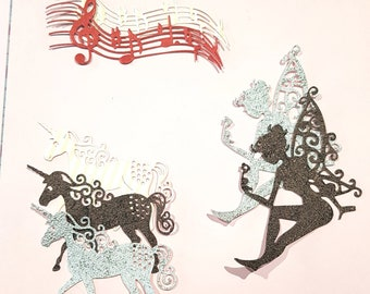 7 mixed silhouettes for scrapbooking - fairy - unicorn - musical notes with score