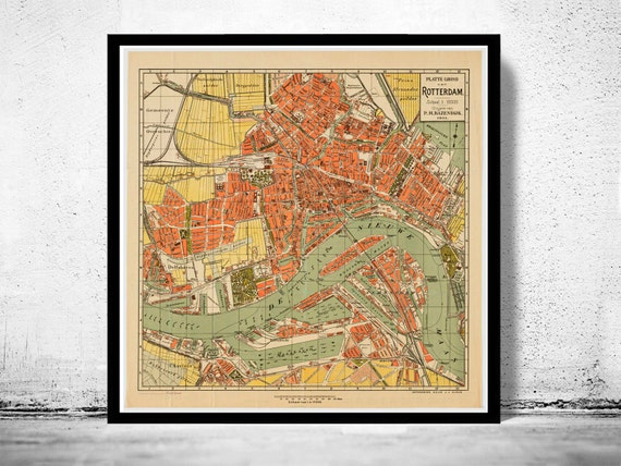 Old map of rotterdam netherlands 1911 antique vintage map gumiabroncs Gallery