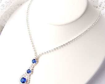 Blue rhinestone drop necklace / Capri blue / Mothers Day / Sapphire / prom jewelry / something blue / Swarovski / gift for her / Jewelry set