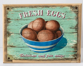 Framed Fresh Eggs Metal Sign, Country Decor, Home Decor, Chickens, Coop Décor, 98013F