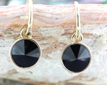 Black Earrings,12mm Gold  Black Swarovski Crystal Diamond Earrings,Bridal Earrings,Bridesmaid Wedding Earrings Gift Jewelry,Dangle Earrings