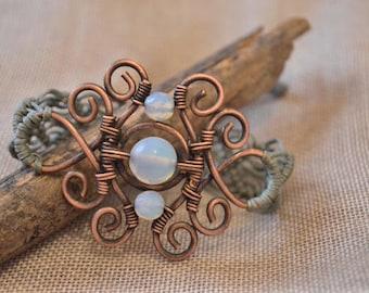 macrame bracelet, handmade bracelet, boho bracelet, opalite jewerly, unique bracelet, gift for her, copper bracelet, gemstone bracelet, yoga
