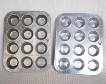 Set of 2 Vintage MIRRO Mini Muffin Tins Aluminum Mini Muffin Pans by MIRRO