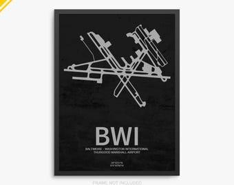 BWI Airport, Baltimore - Washington International Airport, Baltimore Maryland, BWI Airport Poster, Baltimore Airport, Baltimore MD