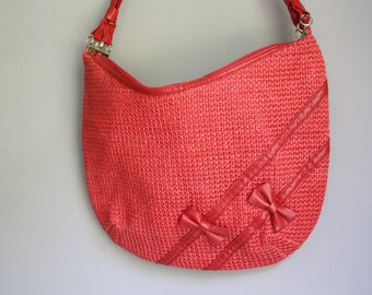 Amazing Lipstick Red Raffia Woven Bow Purse