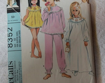 Girls' Nightgown, Pajamas, Shorties and Slippers 1960s Vintage Sewing Pattern MCCALL'S 8352