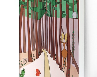 In the woods | Poster | Illustration | Nursery art