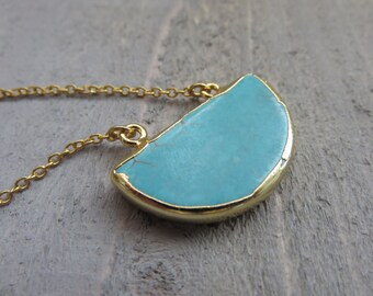 Electroplated Turquoise Half Moon Necklace Gold Layered