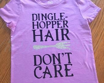 DingleHopper Hair Don't Care Little Mermaid Inspired girls T-shirt