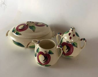 Vintage Purinton Pottery Covered Vegetable Casserole Dish, Creamer and Sugar Apple Motif Slipware 1950s