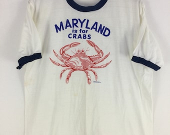 "Vintage 70s ""Maryland is for Crabs"" Ringer T shirt Size XL"