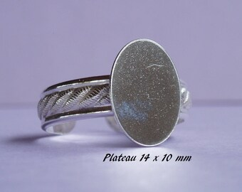 Ring in sterling silver.925 classic design, flat oval 14 x 10 mm