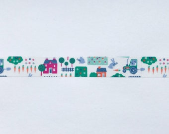 "Farm Washi Tape Sample - 24"" sample - Farmer Washi, Tractor Washi, Farming Washi, Farm Scene Washi"