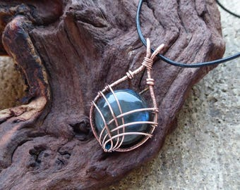 Boho - blue grey Labradorite pendant - Heady Wire wrapped pendant - Leather wire wrapped jewelry - Copper Wire Wrap pendant - Gift for her
