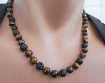 mens beaded necklace tigers eye necklace black lava necklace lava rock necklace lava bead necklace tigers eye jewelry for men necklace gem