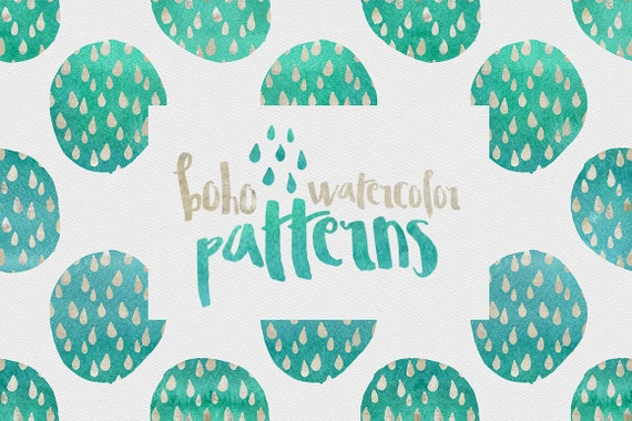 70% OFF Digital paper, Boho Watercolor Patterns - 16 digital pattern backgrounds