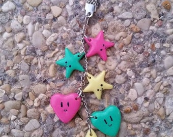 Stars hearts made polymer clay keychain.