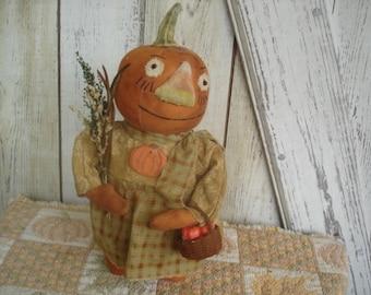 Penelope Pumpkin Stump Doll, Pumpkin Doll, Fall Doll, Autumn Doll, Halloween Doll, Ofg, Faap, Hafair, Dub