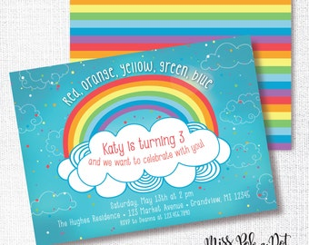 Rainbow Birthday Party Invitation, Printable, Over The Rainbow Invite, Girl, Cloud, Confetti, Colorful, Red, Orange, Yellow, Green, Blue