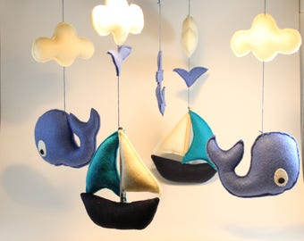 Baby mobile-Whale mobile -Nautical baby Mobile - Mobile - Nursery decor - Baby crib mobile- Baby shower
