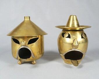 2 Modernist Mexican Brass Character Ashtray, Taxco, Los Castillo, 1920s