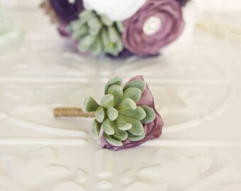 Fabric and Succulent Boutonniere, Grooms, Best man, Groomsmen Custom made Fabric Buttonhole, Boutonniere