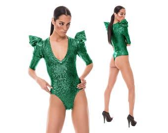 Signature Thong Bodysuit; Green Holographic, Burning Man Clothing, Poison Ivy Costume, Dancewear, Sexy Bodysuit, Brazilian Bottom,LENA QUIST