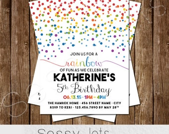 Rainbow Birthday Invitation - Rainbow Party Invite