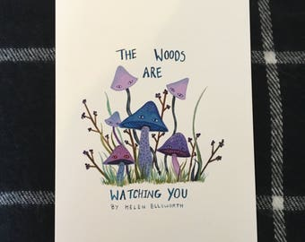 The woods are watching you cover painting