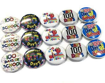"""100 Day Magnets, 1"""", Button Magnet, 100 days Magnet, School Party Favor, 100 Days, 100 Days of School Party, 100 Day Party, 100 School Days"""