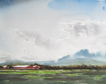 Willamette valley landscape with Oregon farm in the foreground, watercolor, print from a handmade original