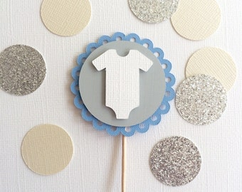 10 Onsie Baby Boy Cupcake Toppers!  Baby Shower Cupcake Toppers, Blue, White, & Grey