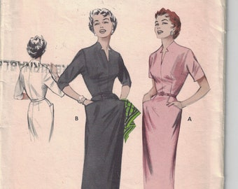 Butterick 6960 Vintage Pattern Womens Semi Fitted Slim Line Dress in 2 Variations Size 16 Bust 34 UNCUT