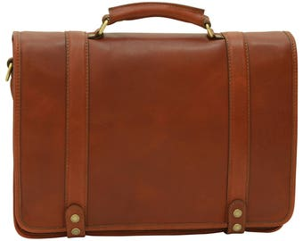 Leather Briefcase in brown made of Genuine Italian Leather - Leather Bag - Leather Laptop Bag - Leather Travel Bag - Mens Gift