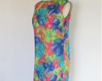 Hawaiian Shift / Vintage Mod 60s Dress Sleeveless / Bright 1960s Watercolor Print / Hawaiian Casuals Stan Hicks /  Tiki Beach Pool , Medium