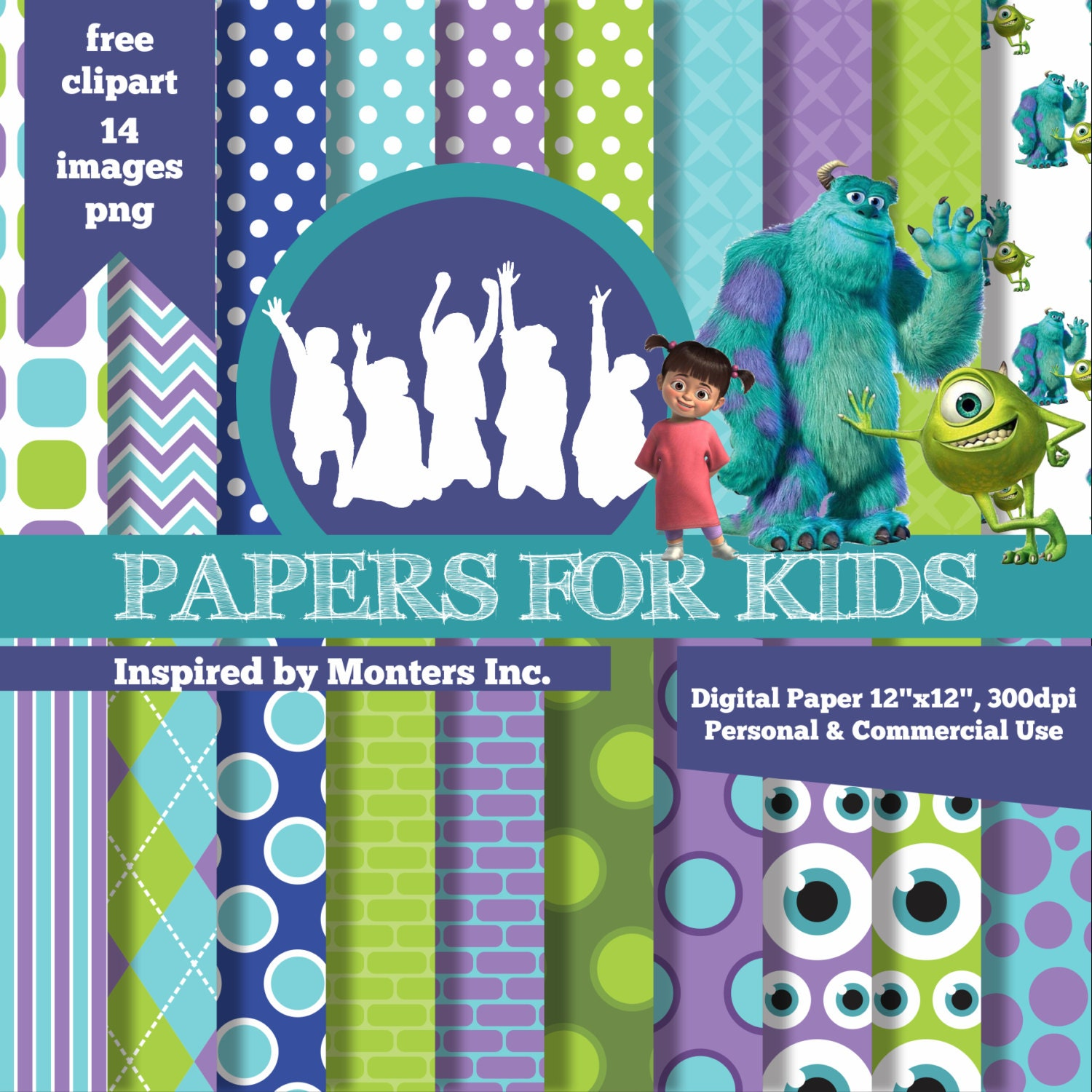 Digital Papers Monsters Inc Mike and Sulley Boo Birthday