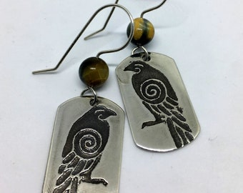 Sterling Silver Raven Earrings - Huginn & Muninn Odin Ravens - Morrigan Crows - Celtic - Norse - Viking