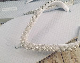Emma Bridal Flip Flops Custom Flip Flops Dancing Shoe Beaded Bridal Sandals Wedding Flip Flops Beach Wedding Bridal Shoes