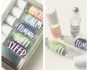 Set of 5 Essential Oil roller bottle stickers-  FREE SHIPPING!