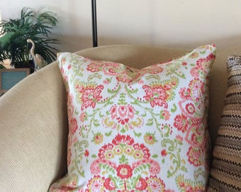 Extra Large Ikat Pattern Pillow Cover  - Pink and Green Euro Sham  - Green and Coral Euro Sham - 26 x 26 Pillow Cover