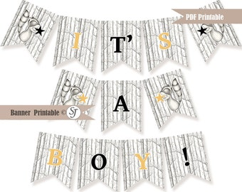 Woodland Raccoon Banner, It's a boy banner, baby shower banner PDF printable