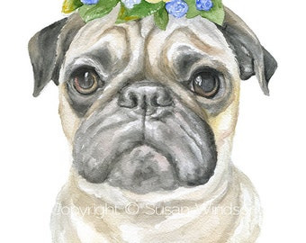 Pug Floral Watercolor Painting 8 x 10 - 8.5x11 Fine Art Giclee Reproduction - Springtime Art Print Dog Portrait