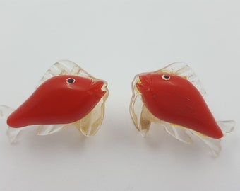 Vintage early plastic fish earrings