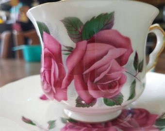Queen Anne, by Ridgeway. Made in England. Pink roses fine bone china tea cup and saucer.