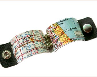 Chicago Map cuff, Chicago jewelry, chicago bracelet