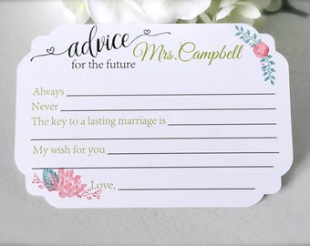 Advice for the bride cards, bridal shower advice cards, bridal shower game, bridal shower decor, future mrs. cards  - set of 15(ac16)