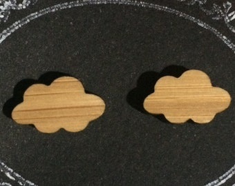 Lasercut Bamboo 'Cloud' Stud Earrings